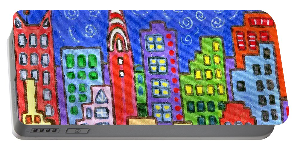 Pop Art Cityscape Portable Battery Charger featuring the painting New York One by Linda Mears