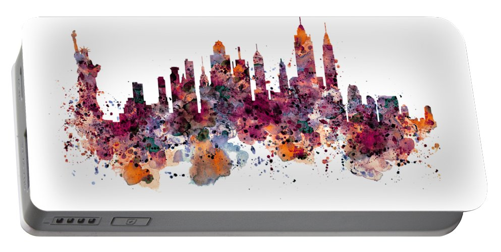 New York Portable Battery Charger featuring the painting New York Skyline Watercolor by Marian Voicu