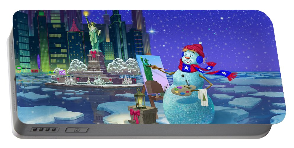 Michael Humphries Portable Battery Charger featuring the painting It's Christmas Time In The City by Michael Humphries
