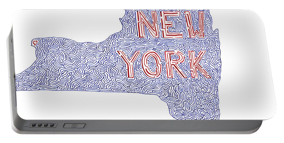Mazes Portable Battery Charger featuring the drawing New York by Steven Natanson