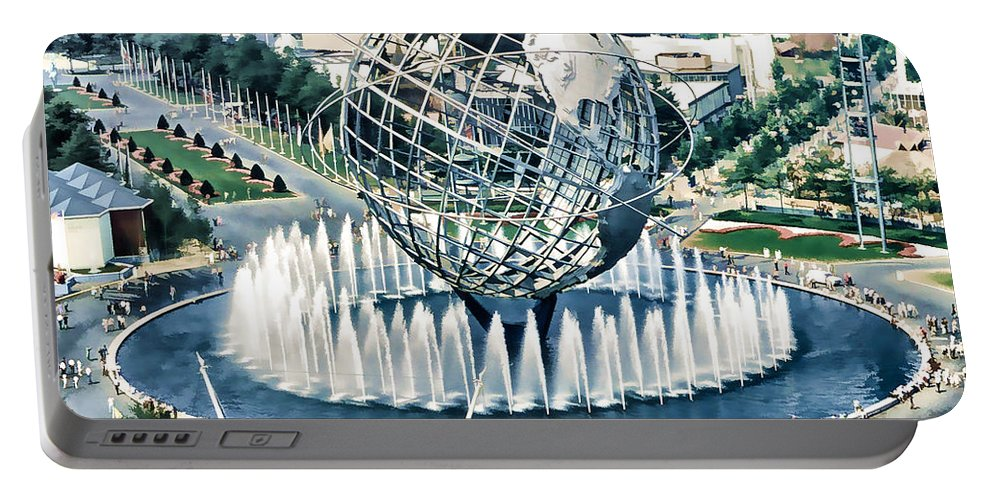 Fair Portable Battery Charger featuring the painting New York World's Fair by Jeelan Clark