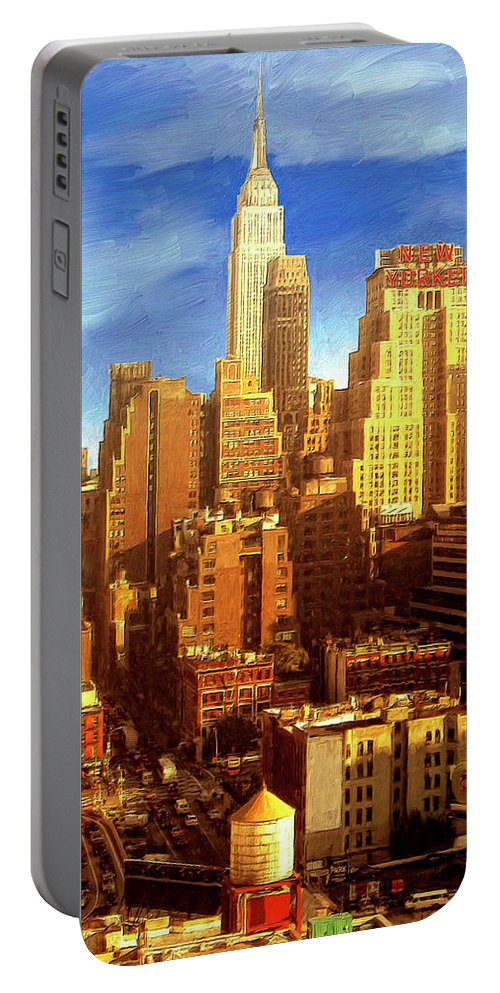 New York Portable Battery Charger featuring the painting New Yorker by Dominic Piperata