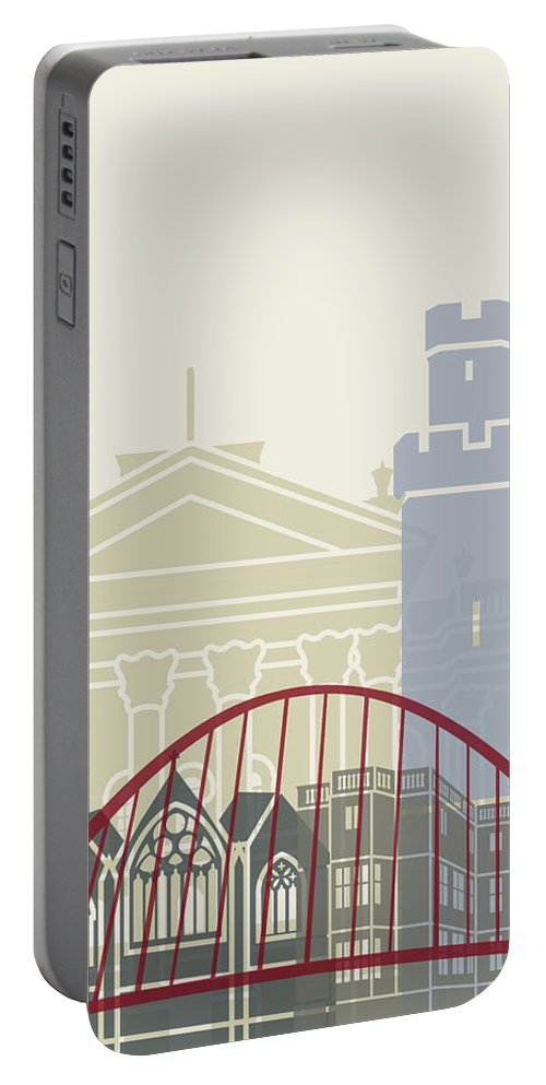 Europe Portable Battery Charger featuring the painting Newcastle Skyline Poster by Pablo Romero