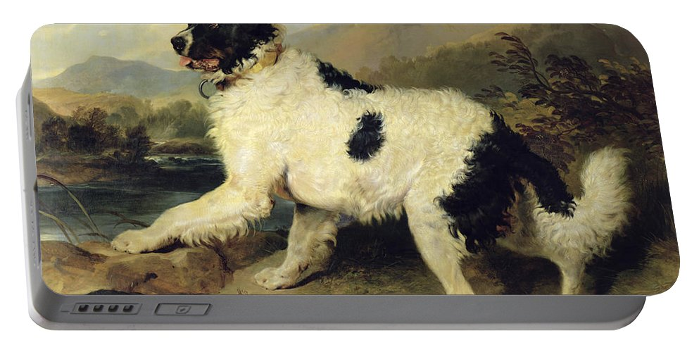 Newfoundland Portable Battery Charger featuring the painting Newfoundland Dog Called Lion by Sir Edwin Landseer