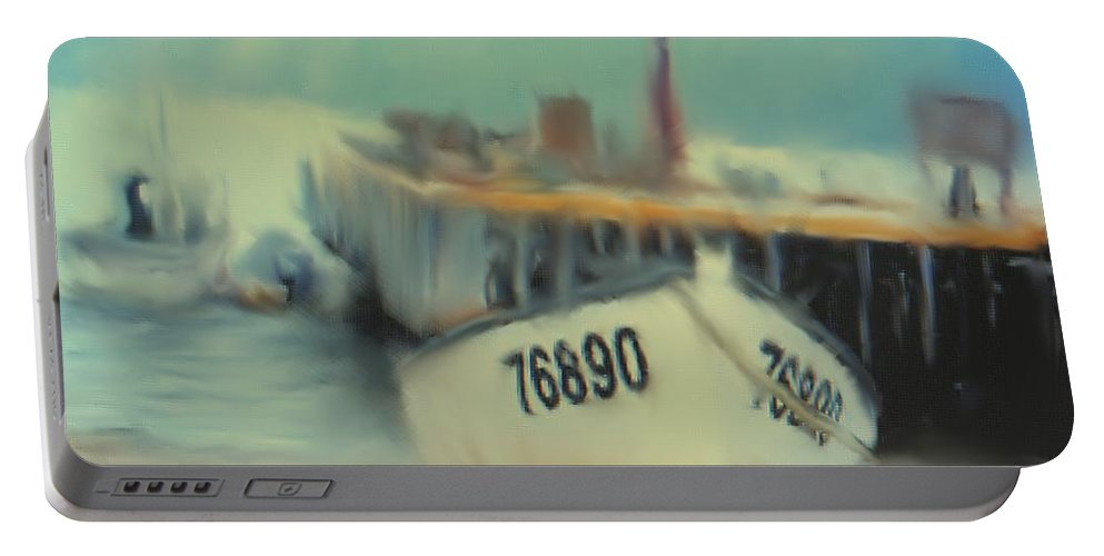 Newfoundland Portable Battery Charger featuring the digital art Newfoundland Fishing Port Impressions by Ian MacDonald