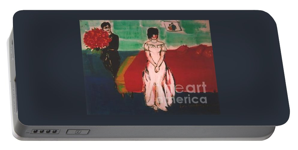 Chinese Portable Battery Charger featuring the painting Newly Weds by Meihua Lu