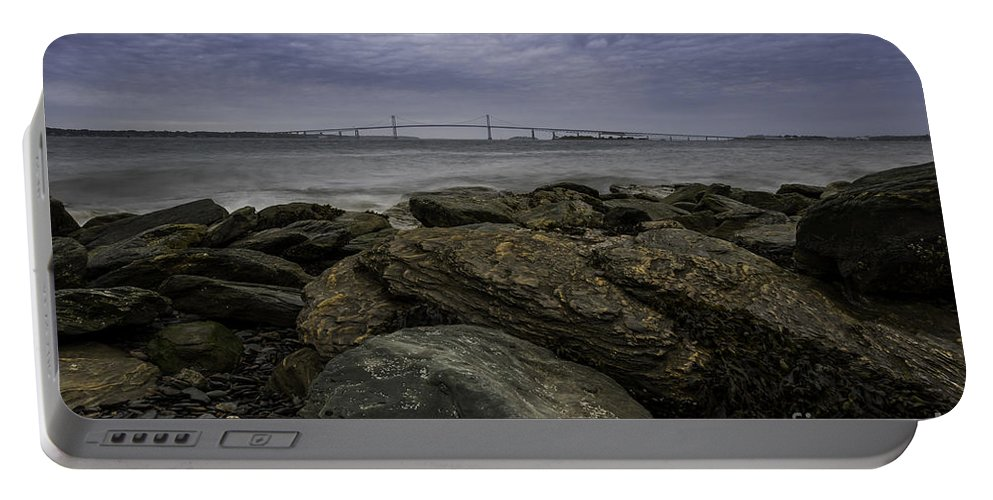 Landscape Portable Battery Charger featuring the photograph Newport Bridge Under Dramatic Sky by DAC Photography