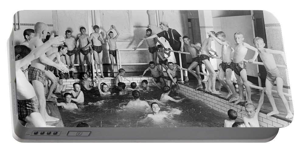 Family Portable Battery Charger featuring the photograph Newsboys Swimming 1900s by Science Source