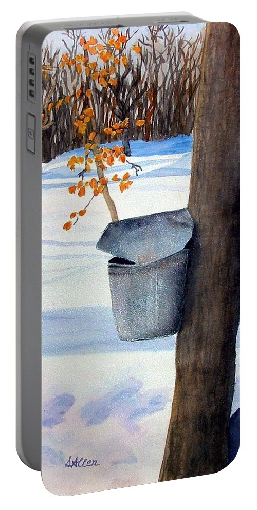 Sap Bucket. Maple Sugaring Portable Battery Charger featuring the painting Nh Goldmine by Sharon E Allen