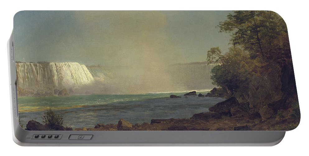 Waterfall; American; Canadian; Landscape; Natural; Phenomenon Portable Battery Charger featuring the painting Niagara Falls by Albert Bierstadt