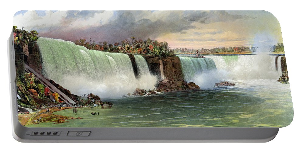 1840 Portable Battery Charger featuring the photograph Niagara Falls, C1840 by Granger