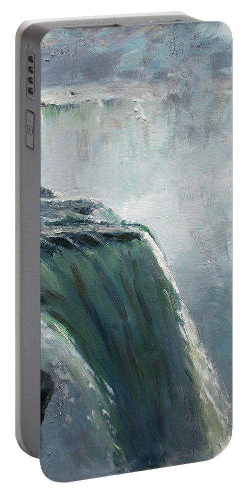 Niagara Falls Ny Portable Battery Charger featuring the painting Niagara Falls Ny by Ylli Haruni