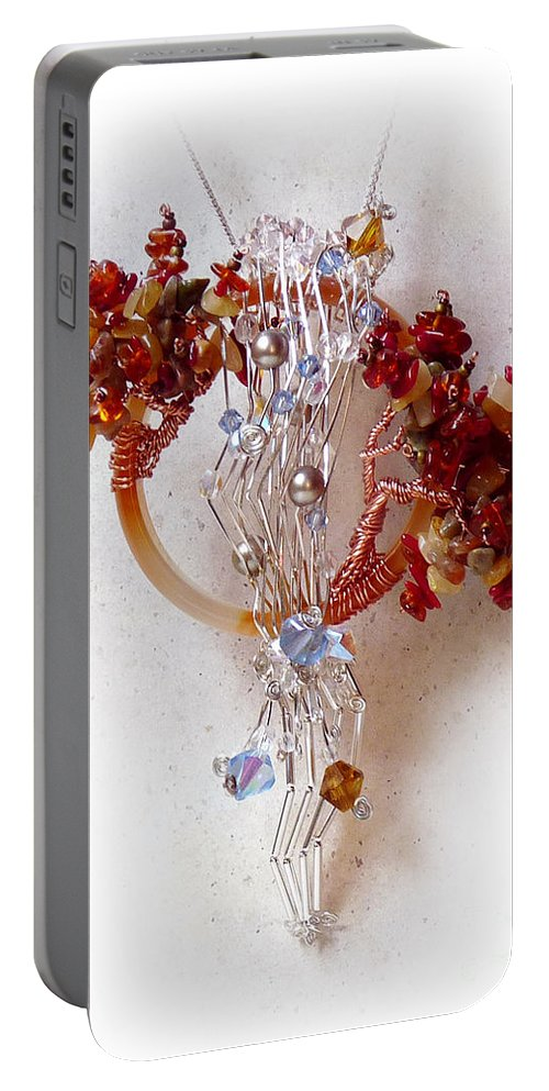 Sterling Silver Portable Battery Charger featuring the sculpture Niagra Fall by Rhonda Chase