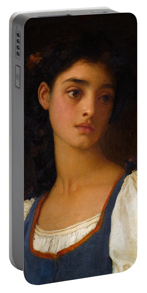 Frederic Leighton Portable Battery Charger featuring the painting Nicandra by Frederic Leighton