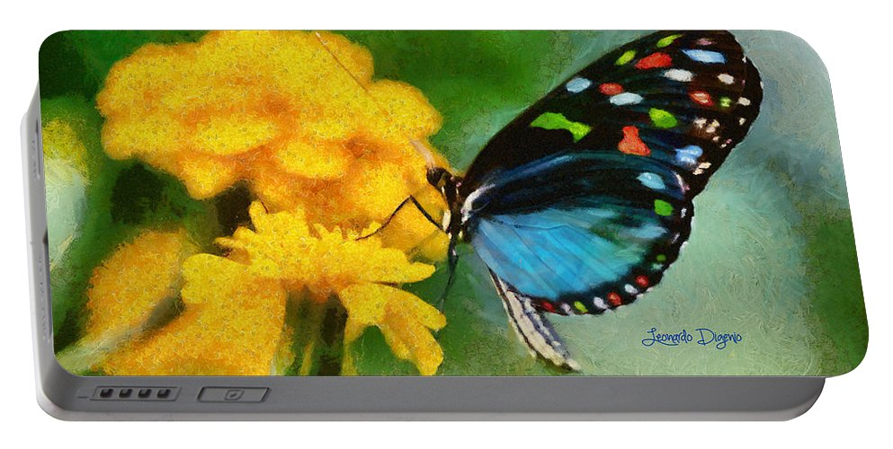 Amber Portable Battery Charger featuring the painting Nice Butterfly by Leonardo Digenio