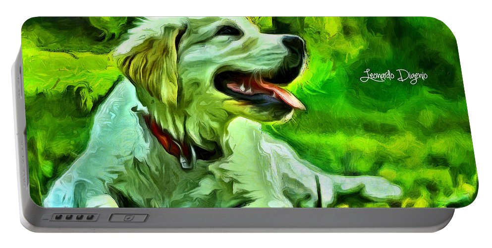 Academic Portable Battery Charger featuring the painting Nice Dog by Leonardo Digenio