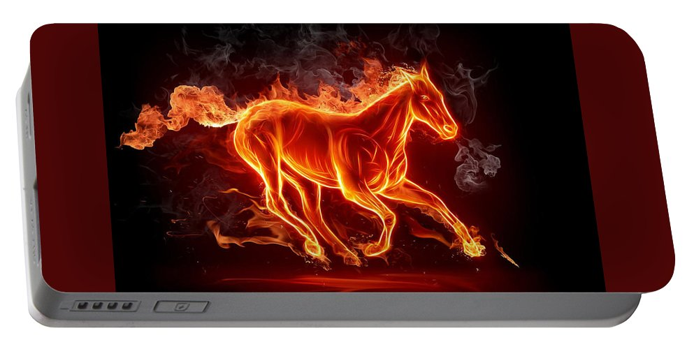 Nice Horse 3d Nice Horse 3d Portable Battery Charger featuring the digital art Nice Horse 3d by Duyet Ha Lich