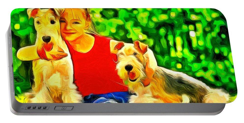 Affect Portable Battery Charger featuring the painting Nice Kids by Leonardo Digenio