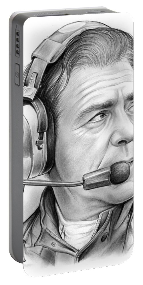 Nick Saban Portable Battery Charger featuring the drawing Nick Saban by Greg Joens