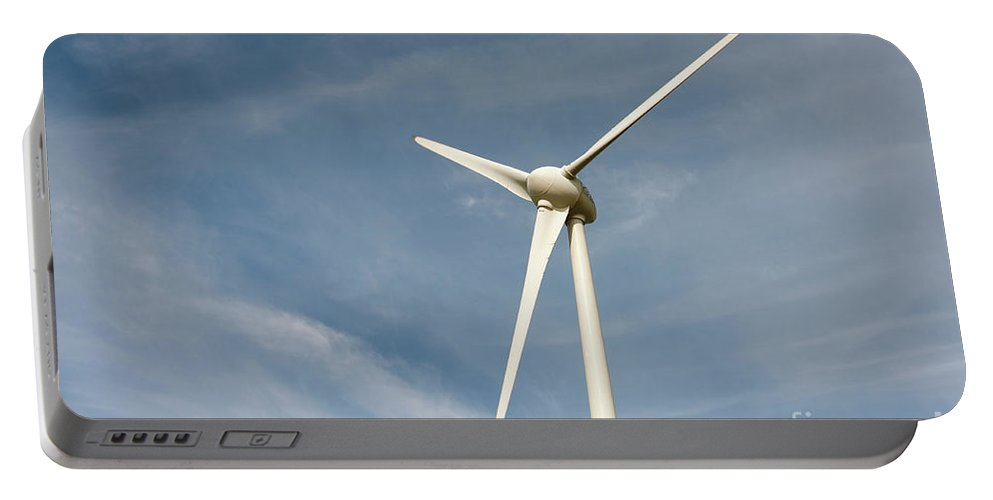 Belgian Portable Battery Charger featuring the digital art Nieuwpoort Belgium Wind Turbines. by Richard Wareham
