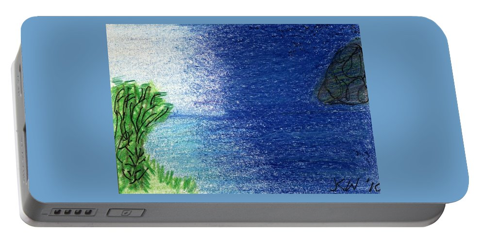 Night Portable Battery Charger featuring the painting Night And Day by Janet K Wilcox