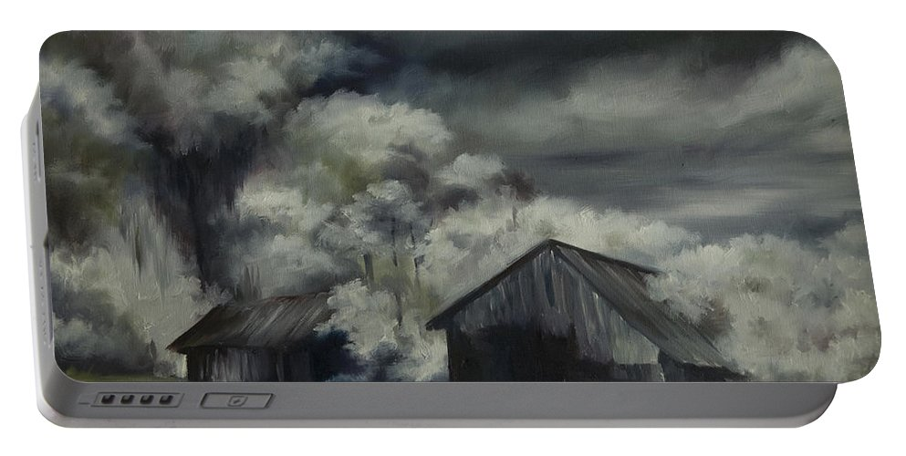 Motel; Route 66; Desert; Abandoned; Delapidated; Lost; Highway; Route 66; Road; Vacancy; Run-down; Building; Old Signage; Nastalgia; Vintage; James Christopher Hill; Jameshillgallery.com; Foliage; Sky; Realism; Oils; Barn Portable Battery Charger featuring the painting Night Barn by James Christopher Hill