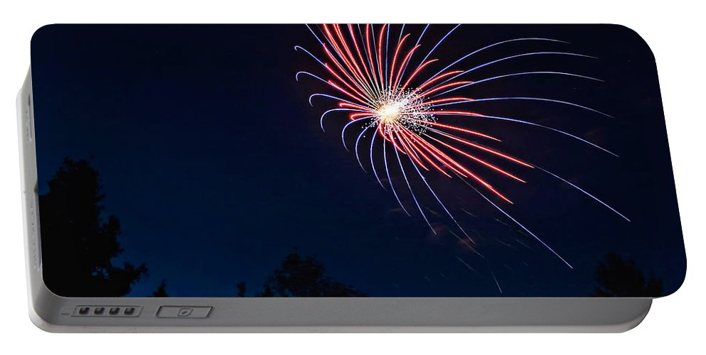Fireworks Portable Battery Charger featuring the photograph Night Bloom by Steve Harrington