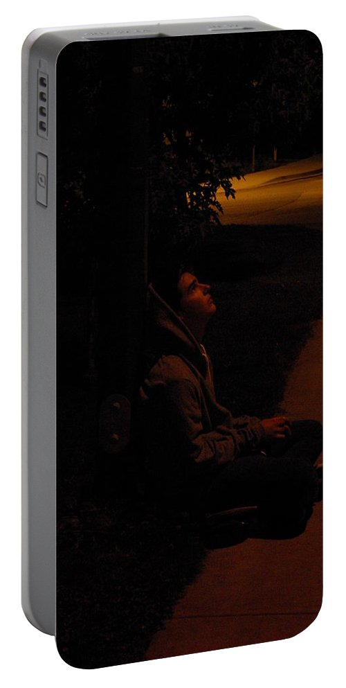 Night Portable Battery Charger featuring the photograph Night Boy by Cindy Johnston