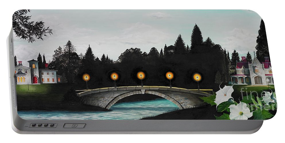 Architecture Portable Battery Charger featuring the painting Night Bridge by Melissa A Benson
