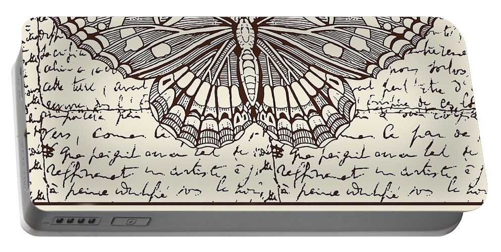 Night Butterfly Portable Battery Charger featuring the digital art Night Butterfly On Old Letter by Long Shot
