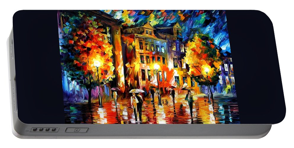 Afremov Portable Battery Charger featuring the painting Night Enigma by Leonid Afremov