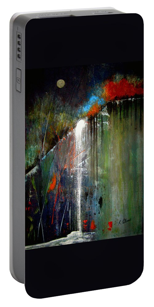 Abstract Portable Battery Charger featuring the painting Night Falls by Ruth Palmer