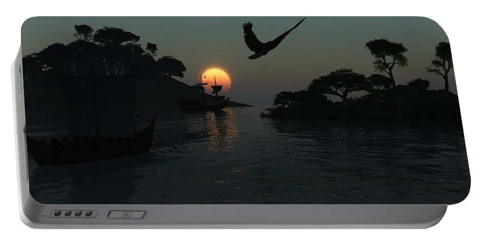 Digital Painting Portable Battery Charger featuring the digital art Night Harbor by David Lane