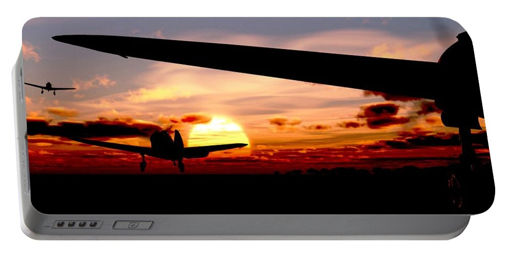 Aviation Portable Battery Charger featuring the digital art Night Hawks by Richard Rizzo