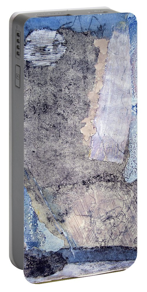 Intaglio Print With Acrylic Portable Battery Charger featuring the painting Night Images by Judith Ghetti Ommen