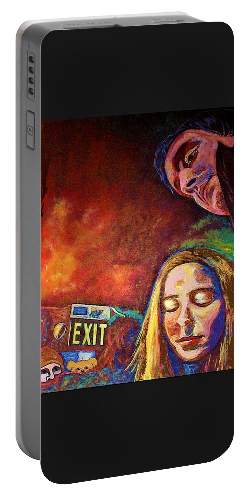 Girl Portrait Portable Battery Charger featuring the painting Night In The City by Frances Gillotti
