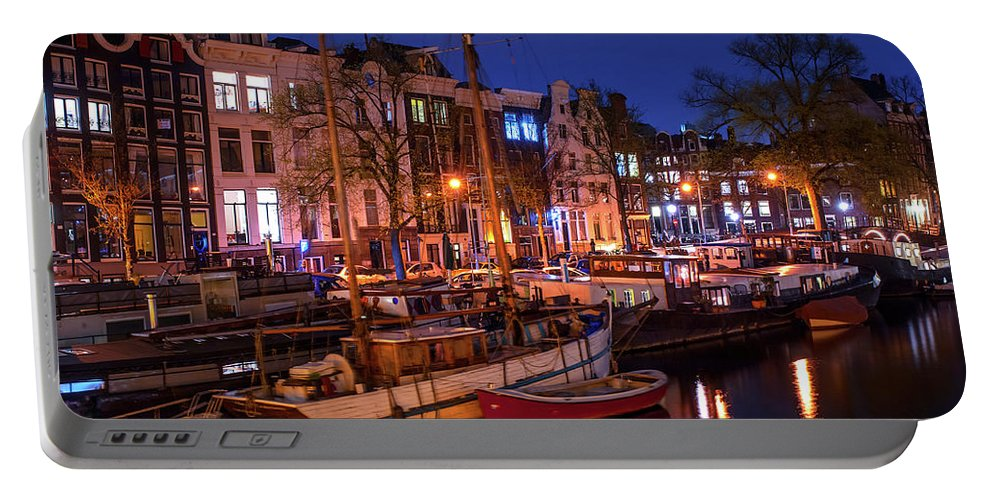 Amsterdam Portable Battery Charger featuring the photograph Night Lights On The Amsterdam Canals 7. Holland by Jenny Rainbow