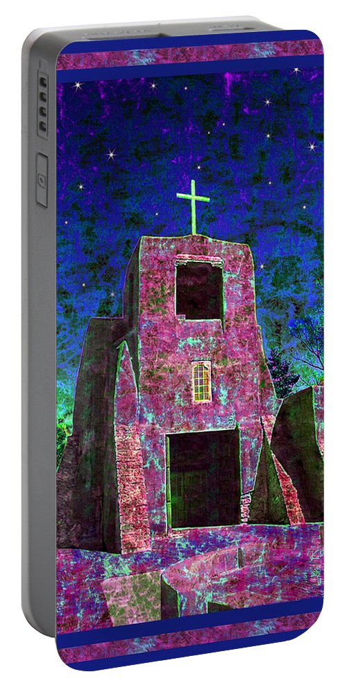 Mission Portable Battery Charger featuring the photograph Night Magic San Miguel Mission by Kurt Van Wagner