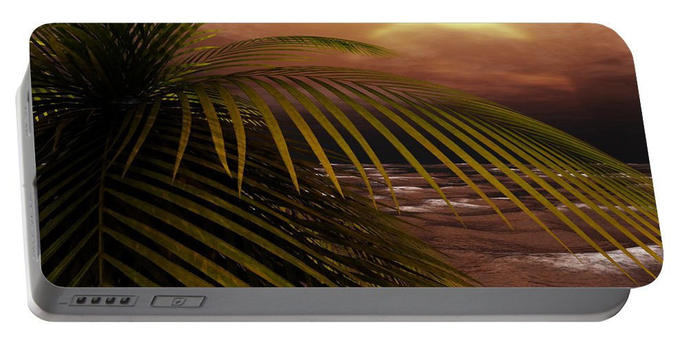 Tropical Portable Battery Charger featuring the digital art Night Moves by Richard Rizzo