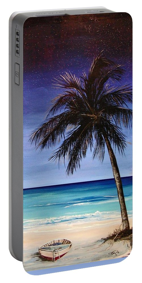 Night Portable Battery Charger featuring the painting Night On The Beach by Stephen Broussard