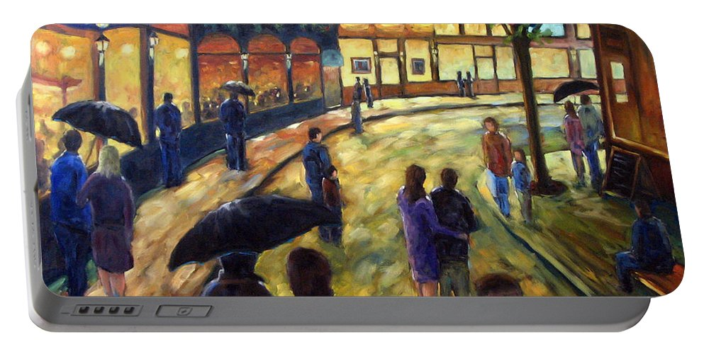 Cityscape Portable Battery Charger featuring the painting Night On The Town by Richard T Pranke