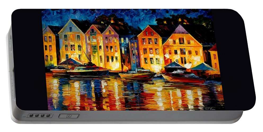 City Portable Battery Charger featuring the painting Night Resting Original Oil Painting by Leonid Afremov