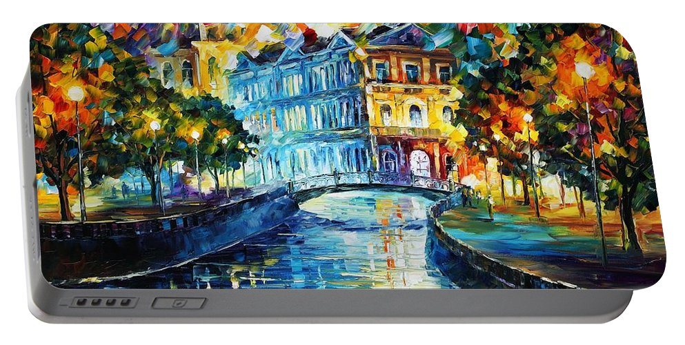 Afremov Portable Battery Charger featuring the painting Night River by Leonid Afremov