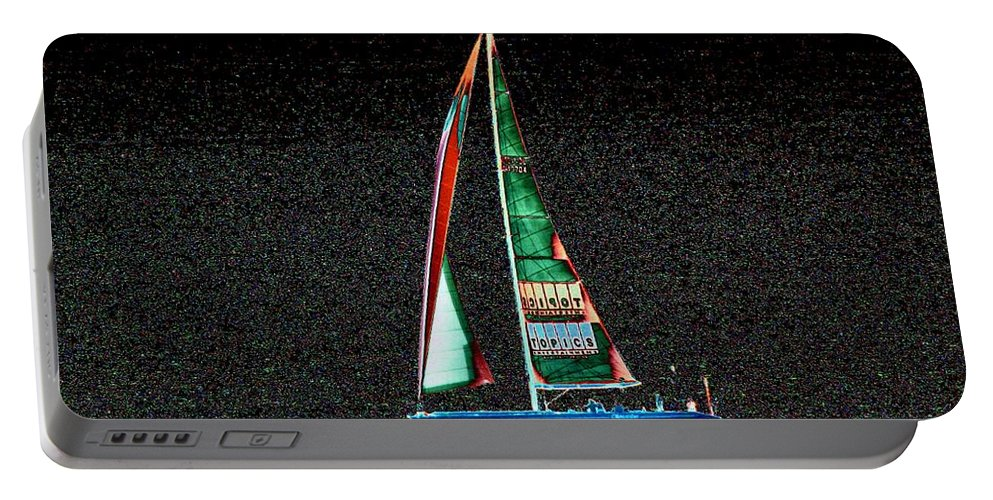 Seattle Portable Battery Charger featuring the photograph Night Sail 2 by Tim Allen