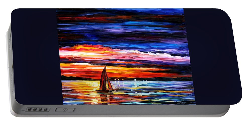 Seascape Portable Battery Charger featuring the painting Night Sea by Leonid Afremov