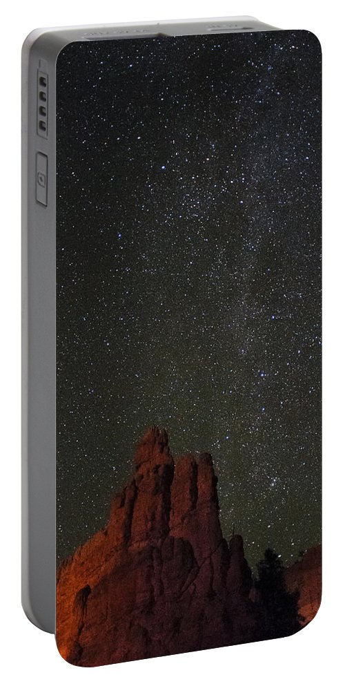 Red Portable Battery Charger featuring the photograph Night Sky Red Rock 2733 by Bob Neiman