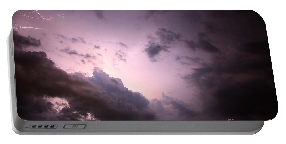 Lightning Portable Battery Charger featuring the photograph Night Storm by Amanda Barcon