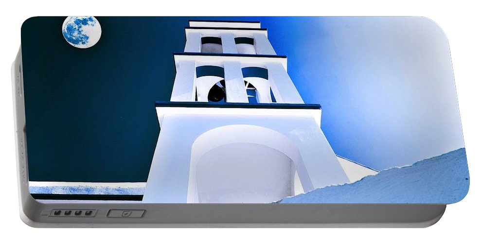 Nature Portable Battery Charger featuring the painting Night Taking Over The Day Of Church In Greece Crete 2 by Celestial Images