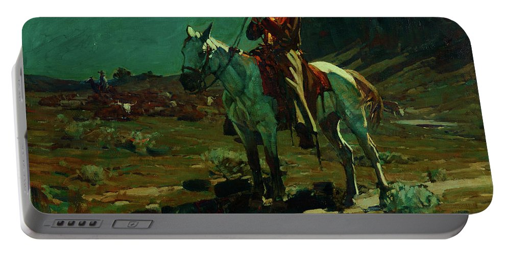 America Portable Battery Charger featuring the painting Night Time In Wyoming by Frank Tenney Johnson