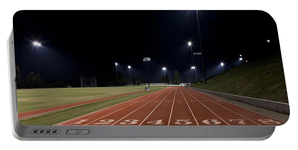 Sports Portable Battery Charger featuring the photograph Night Time Run by Kelley King